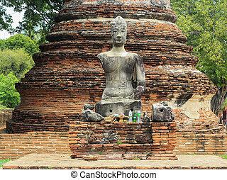 Buddha statue and stupa at Wat Mahathat. Ayutthaya -...