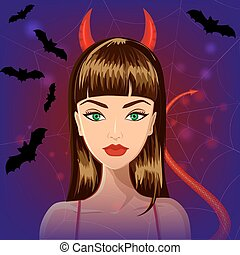Halloween devil witch girl - Halloween beautiful witch with...