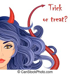 Halloween vampire devil girl - Halloween beautiful witch...