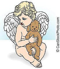 Angel Holding Stuffed Animal - Illustration, Vector