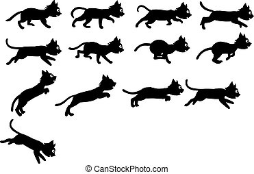 Black Cat Animation Sprite - Vector Illustration of Black...