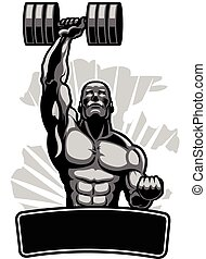 Body Builder - Vector Illustration of Male Muscular Body...