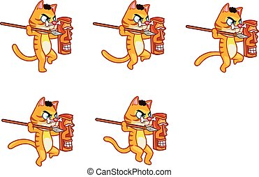 Cannibal Cat Animation Sprite - Vector Illustration of...
