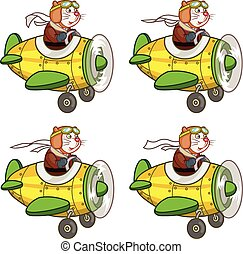 Cartoon Rat Pilot Sprite - Vector Illustration of Pilot Rat...