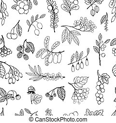 Seamless background garden and wild hand-drawn sketch...