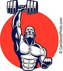 Muscular Body Builder Mascot - Vector Illustration of...
