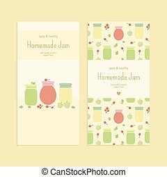 Set of flyer templates with fruit jam