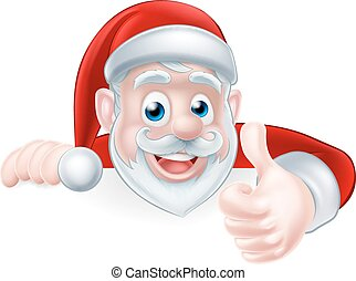 Santa Above Sign Thumbs Up - An illustration of a cute...