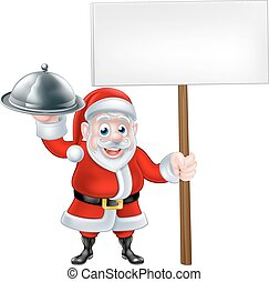Santa Chef Holding Christmas Dinner - Cartoon Santa Claus...