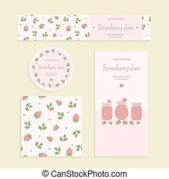 Homemade strawberry jam set Flyer, banner, brochure, label,...