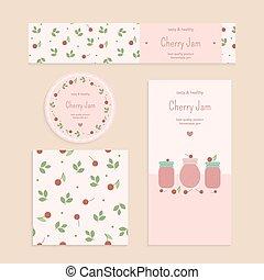 Homemade cherry jam set Flyer, banner, brochure, label,...