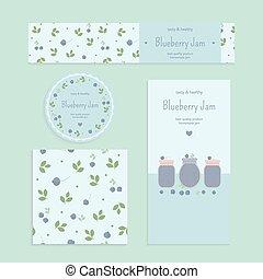 Homemade blueberry jam set Flyer, banner, brochure, label,...