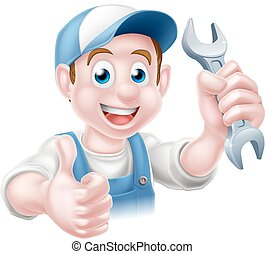 Mechanic Plumber Cartoon Man - Cartoon Plumber or auto...