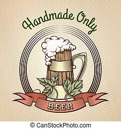 Beer Mug in Vintage Style.