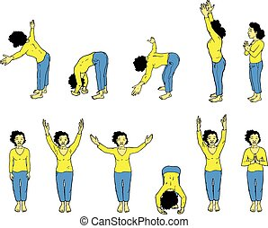 Yoga Instruction - Vector Illustration of Yoga Instruction