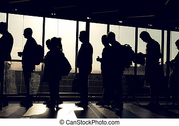 people on queue with silhouette - people are waiting in the...