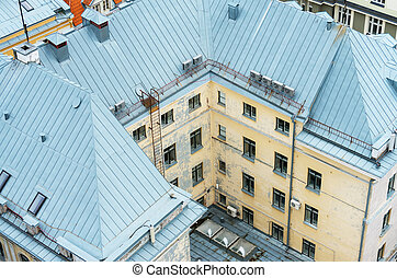 Aerial view of house courtyard in old city.