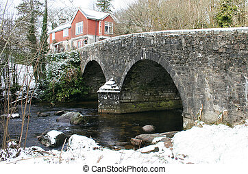 Bridge at Badgers Holt Dartmoor - The arched road bridge at...