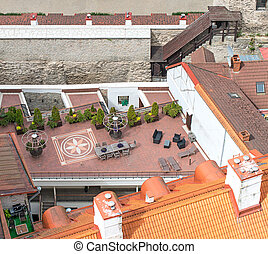 Top view of rooftop cafe in old town.