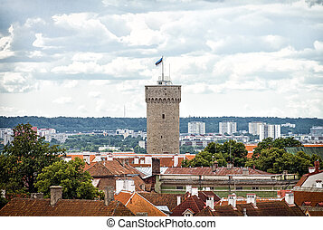 Pikk Hermann. Tower of the Toompea Castle in old Tallinn.