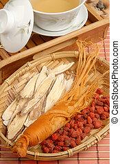 Ginseng%u3001Codonopsitis Radix%u3001Red dry goji berries in...