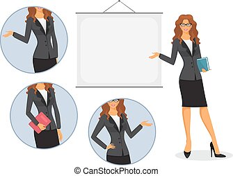 Female teacher with board -  Female teacher with board