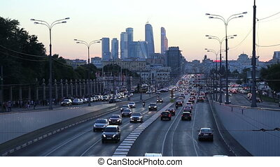 Traffic on the highway, Moscow - Traffic on the highway of...