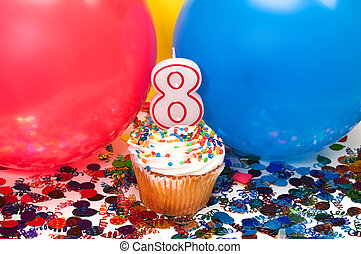 Celebration with Balloons, Confetti, and Cupcake -...