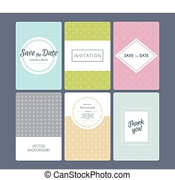Wedding invitation cards set - Vector illustration of...