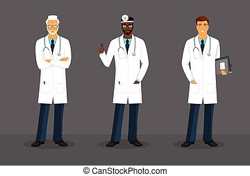Man doctor in various poses - illustration of Man doctor in...