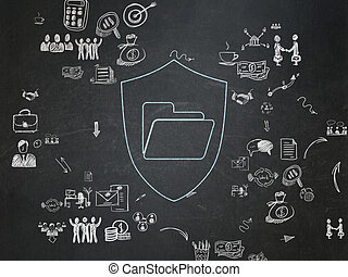 Business concept: Folder With Shield on School Board background