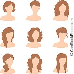 Different hair style for woman - Vector illustration of...
