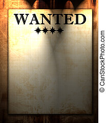 wanted paper - old wanted paper with some stains and spots