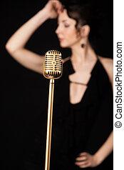 hermoso, dorado, micrófono, vendimia, delgado, atrás, niña,...