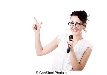 Young office woman presenter with microphone on white...