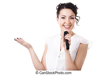 Young businesswoman announcer with microphone on white background