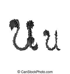 Abstract letter U logo icon black and white design