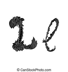 Abstract letter L logo icon black and white design