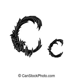 Abstract letter C logo icon black and white design