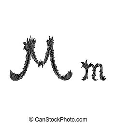Abstract letter M logo icon black and white design
