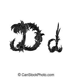 Abstract letter D logo icon black and white design