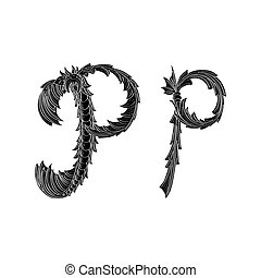 Abstract letter P logo icon black and white design