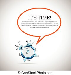 Clock Talk Bubble Copyspace - Vector illustration of a...