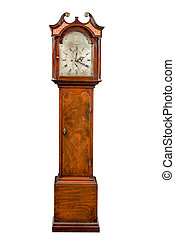 tall longcase pendulum grandfather clock - English antique...