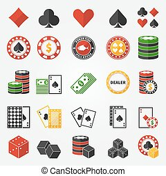 Poker or gambling icons set - vector casino symbols in flat...