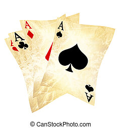 playing cards - old playing cards on a solid white...