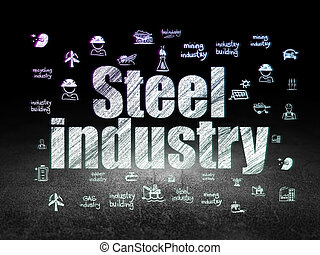 Manufacuring concept: Steel Industry in grunge dark room