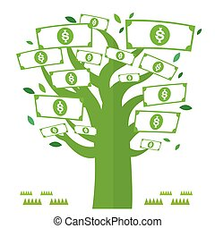Dolar money tree green with icons Vector Currency