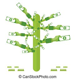 Dolar money hand tree green with icons Vector Currency