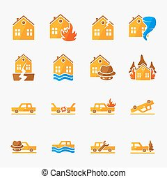 Insurance icons set - Insurance vector icons set - property...